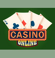 casino shiny board and deck ace cards vector image vector image