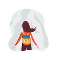 character of girl with backpack in mointains in vector image vector image