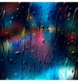 City Road at Night view through wet glass vector image vector image