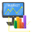 computer screen with graphic of success on market vector image vector image