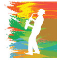 contour of the musician on a bright background vector image