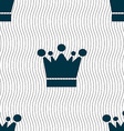 Crown icon sign Seamless pattern with geometric vector image vector image