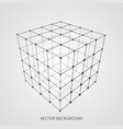 cube 3d mesh wireframe web and data connection vector image vector image