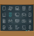 device chalk draw line icons set vector image