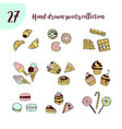 doodle icon set with sweets vector image vector image