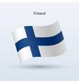 Finland flag waving form vector image vector image