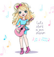 girl playing guitar vector image vector image