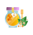 glass jar of honey and linden flowers and leaves vector image vector image