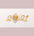 gold realistic metallic text 2021 with gift box vector image vector image