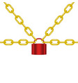 golden chains locked by padlock in red design vector image vector image