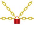 golden chains locked padlock in red design vector image