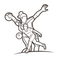 group bowling sport players men and women pose vector image
