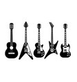 guitars black and white electric and acoustic vector image vector image