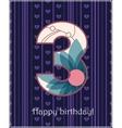 Happy birthday three card vector image