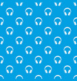 headphones pattern seamless blue vector image vector image