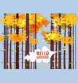 hello autumn lettering on an autumn leaf fall vector image