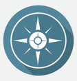 icon compass on white circle with a long shadow vector image vector image