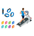 isometric running on a treadmill and fitness vector image vector image