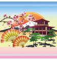 Japanese background with sakura Japanese cherry vector image vector image