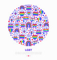 lgbt concept in circle with thin line icons vector image vector image
