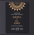 luxury wedding invitation template with mandala vector image