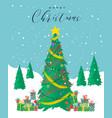 merry christmas card festive pine tree cartoon vector image