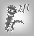 microphone sign with music notes pencil vector image vector image