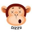 monkey is feeling dizzy on white background vector image