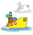 Motor ship Coloring book page Cartoon vector image vector image