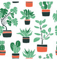 seamless pattern with cute hand drawn flower pots vector image vector image