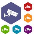security camera icons set hexagon vector image vector image
