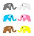 set colored elephants isolated on white vector image vector image