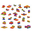 set of different plastic pieces constructor vector image vector image