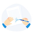 signing document pen in businessman hand vector image vector image
