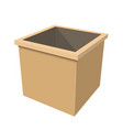 simple wooden box on white background vector image vector image