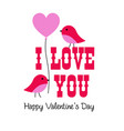 valentine graphic with birds and balloon vector image vector image