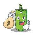 with money bag price tag character cartoon vector image vector image