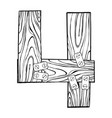 wooden number 4 engraving vector image