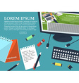 Working student table with place for your text vector image vector image