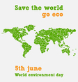world environment day - fifth june save world vector image vector image