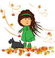 girl with dog vector image