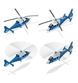 Helicopters isolated on white - flat 3d vector image