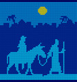 joseph and mary are on a donkey vector image