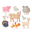 farm animals flat collection isolated on vector image
