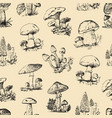 mushroom set hand drawn engraved seamless pattern vector image