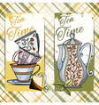 set of hand drawn tea time cards vector image