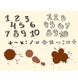 435 duddle number 2Set of Hand drawn Numbers vector image