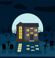 a lonely house at night vector image