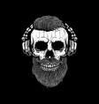 bearded skull in headphones design element for vector image