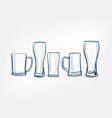 beer glass one line art drink isolated sketch vector image